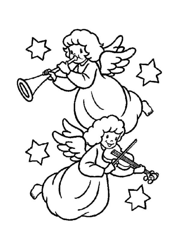 two christmas angels playing music coloring pages