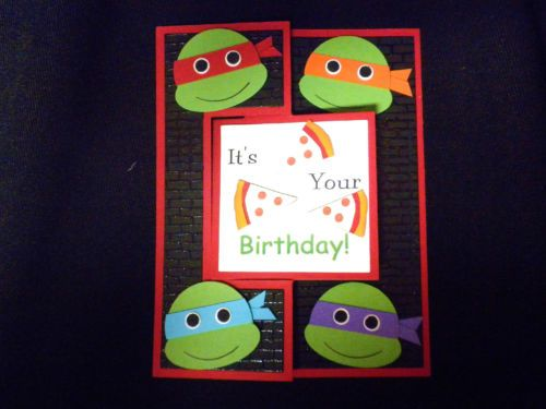 Handmade Teenage Mutant Ninja Turtles Tmnt Flip Birthday Card Punch Art Kids Birthday Cards Birthday Cards Kids Cards