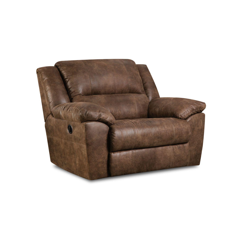 Simmons Upholstery Phoenix Mocha Cuddlier Recliner Leather Recliner Oversized Recliner Recliner Chair