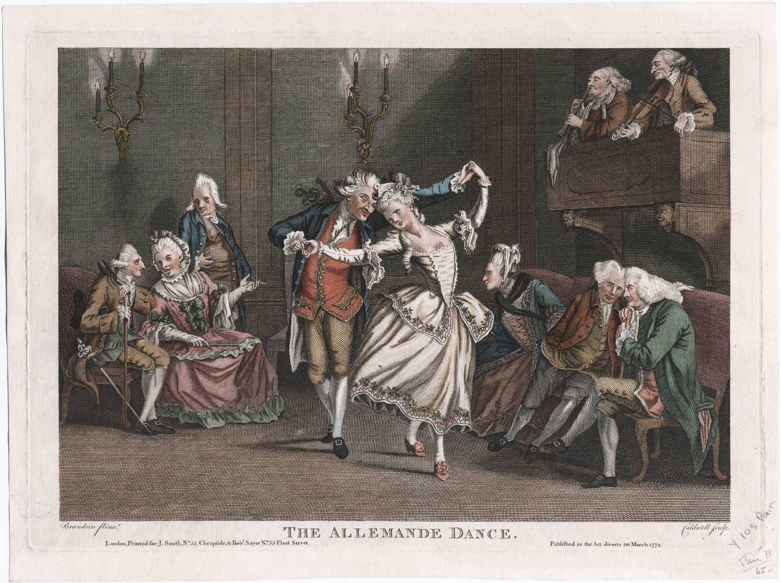 ALLEMANDE The allemande dance, March 20, 1772, Lewis Walpole Library Digital Collection. El término alemanda proviene del francés allemande, y se utiliza para denominar cierta danza alemana barroca (siglo XVIII) de compás cuaternario o binario y simple, así como para denominar un elemento estándar de la suite, normalmente el primero o segundo movimiento. También se puede denominar Allemanda, Almán o Almaín. La allemande es una composición que utiliza el recurso de repetición por secciones o…
