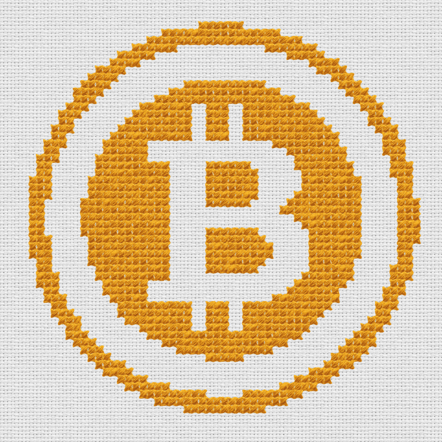 Cross stitch depicting bitcoin logo. It's made with our