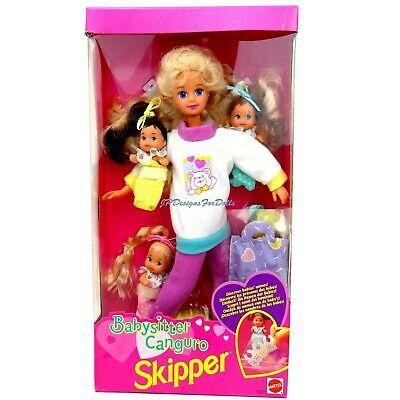 1994 Barbie Babysitter Skipper Doll with 3 Babies Worn Box 74299120718 | eBay