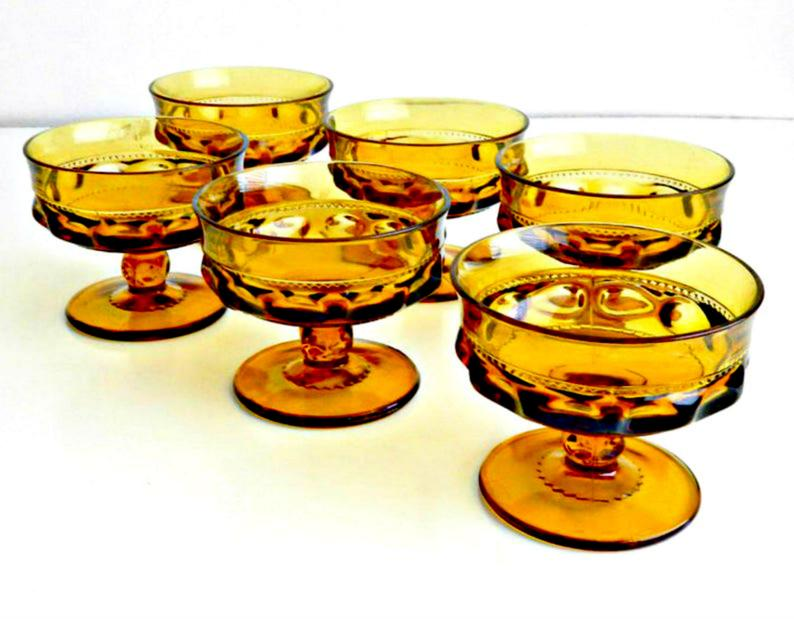 Vintage Amber Glass Goblet Style Candy DishVintage Colored-Glass Home Accessories