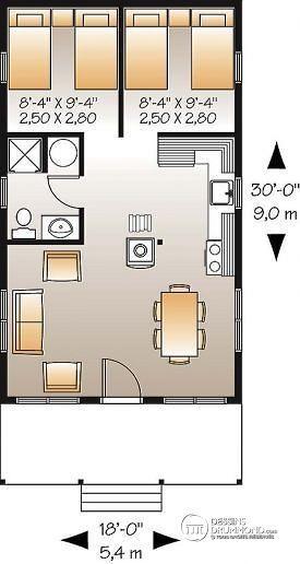 W1905 - Petite micro maison ou micro chalet 3-saisons pour bord de - plan maison m chambres