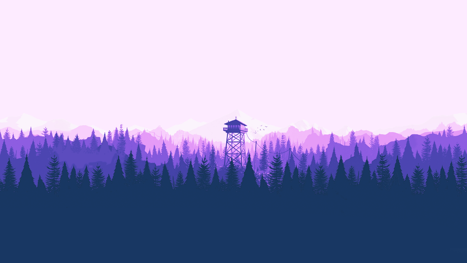 Vaporwave version of the classic Firewatch wallpaper