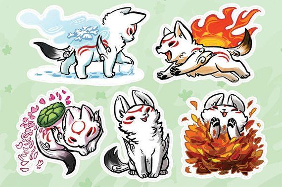 OKAMI VINYL STICKERS  Okamiden Chibi Amaterasu Sticker Sheet