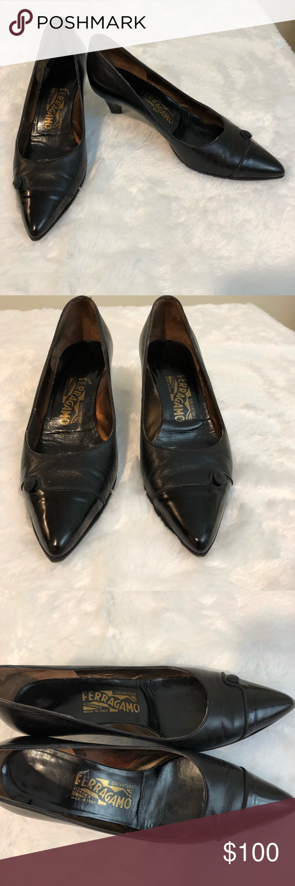 Salvatore Ferragamo Black Kitten Heels Button 36 Black Kitten Heels Kitten Heels Salvatore Ferragamo