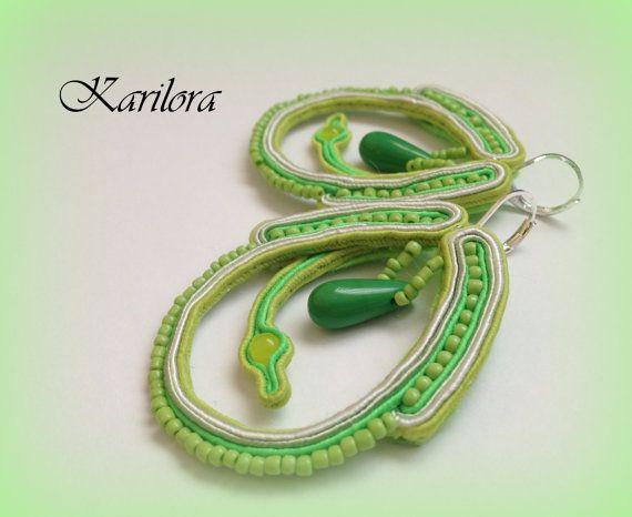 Lime Green i białe długie Sutasz Kolczyki