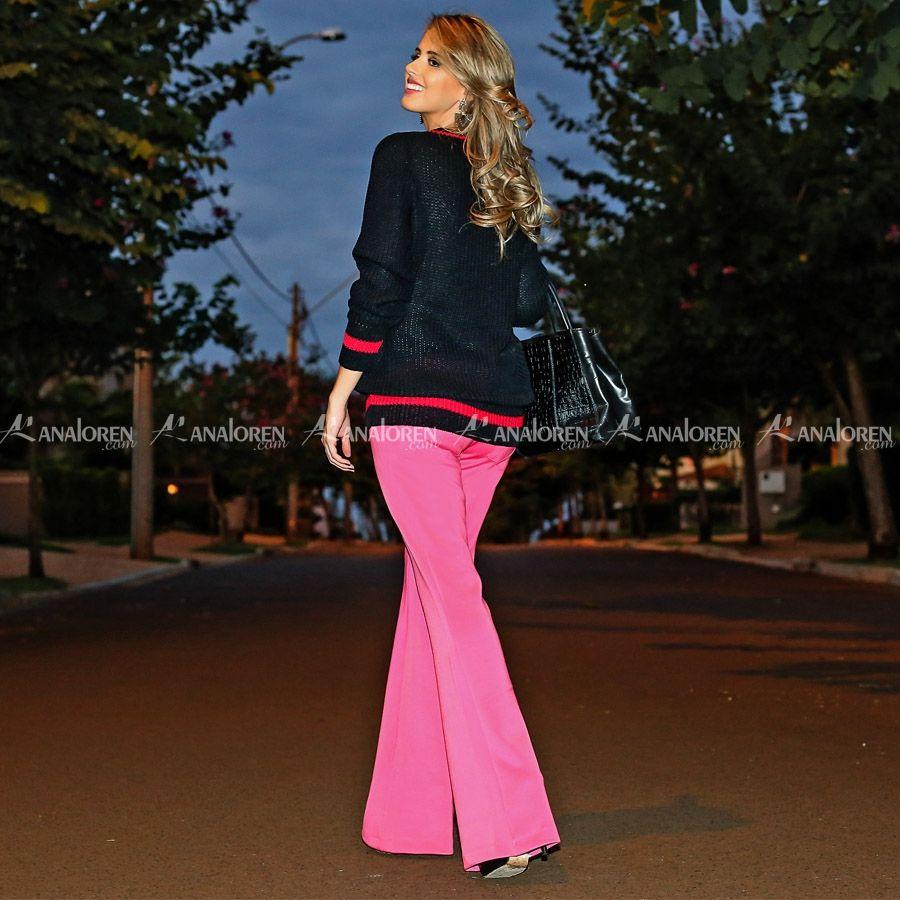 Calça flare rosa | Analoren