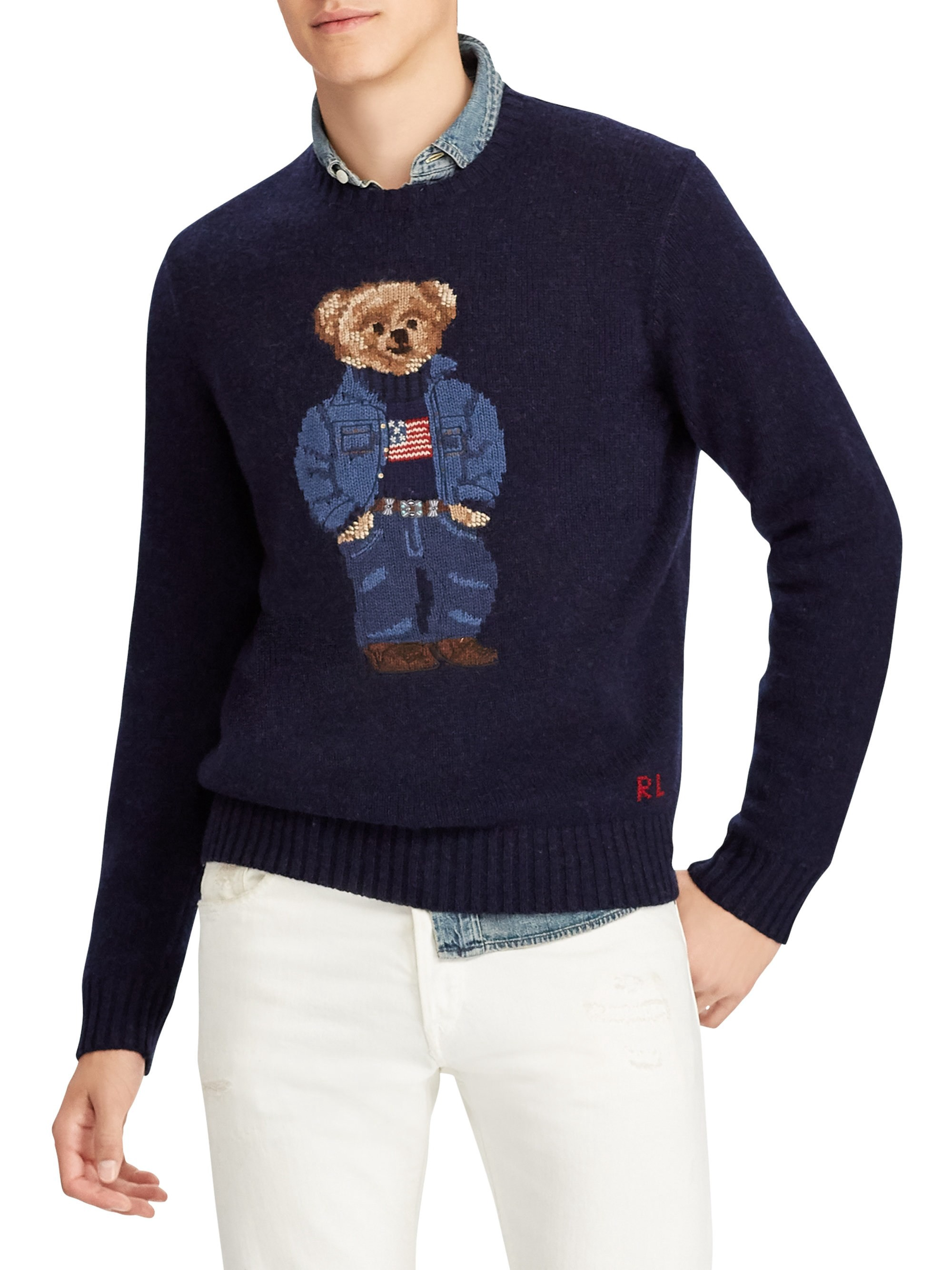 92abba38a6 Ralph Lauren Polo Bear Sweater - Navy X-Large | Products | Sweaters ...