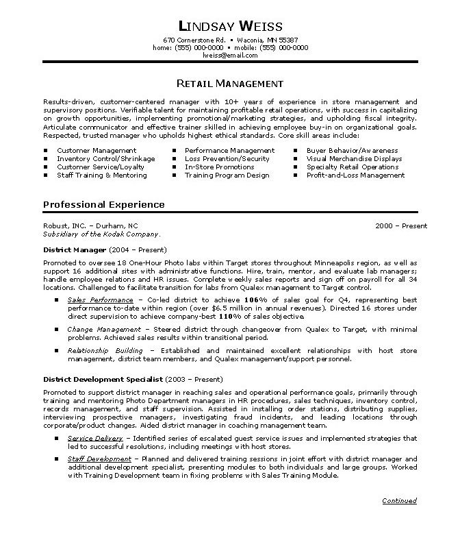 Retail Store Manager Resumes template Sales resume examples