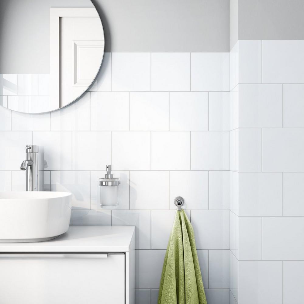 Bright White Ice Ceramic Wall Tile Floor Decor Bathroom Shower Walls Tile Tub Surround White Bathroom Tiles
