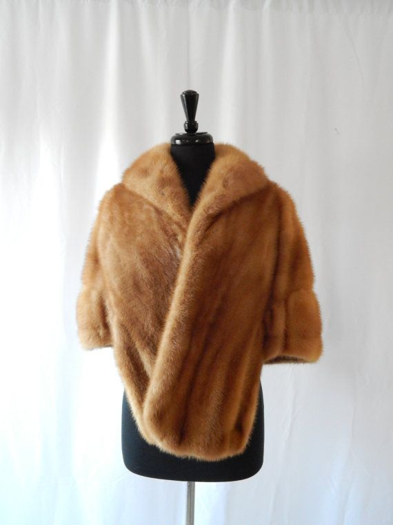 Vintage Honey Blond Mink Fur Stole, EMBA Light Brown Mink Stole AUTUMN HAZE, Hollywood Diva Vintage Mink Shrug Wrap Winter Wedding Fur