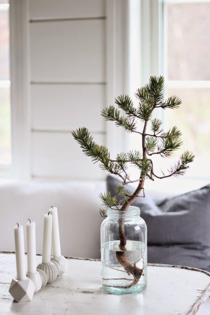 Scandinavian Christmas Inspiration   Simple Branch In A Glass Jar. Tabletop  Christmas TreeMini ...