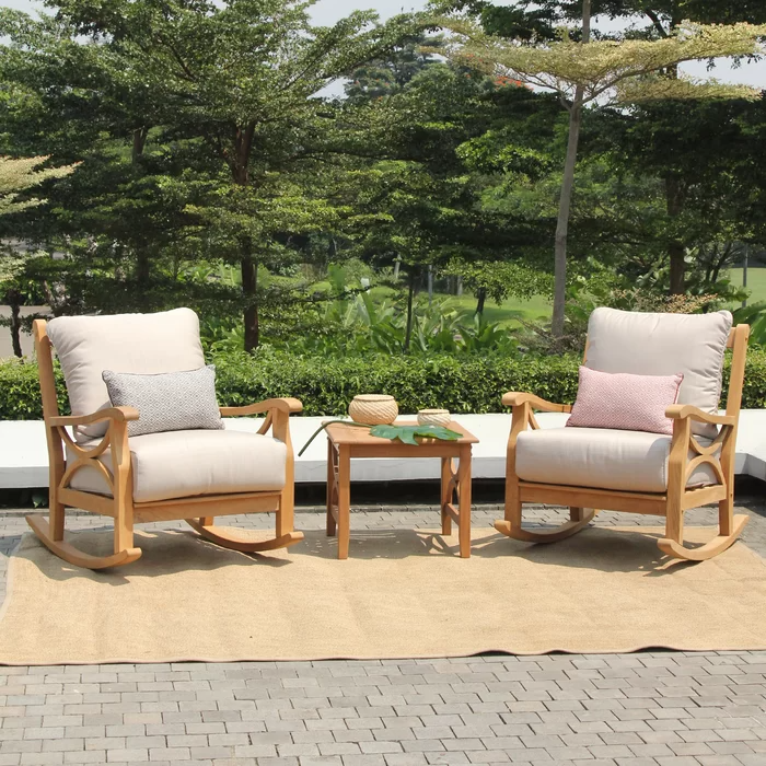 Brunswick Teak Wicker Rattan 2 Person Seating Group Teak Outdoor Outdoor Rocking Chairs Havenside Home