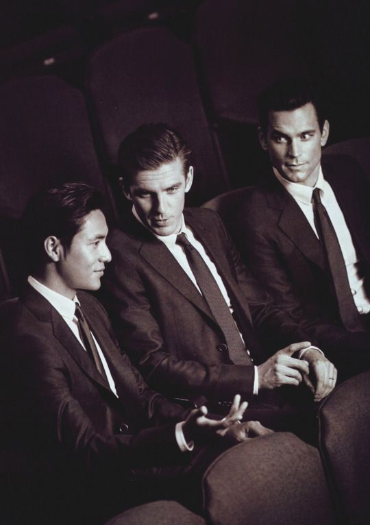 Chen Kun, Dan Stevens and Matt Bomer for Giorgio Armani Made to Measure