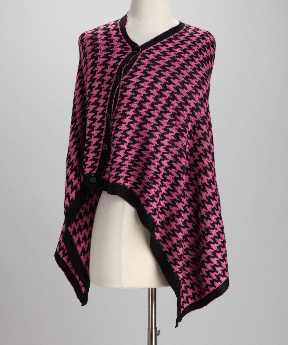 Top It Off Pink Black Houndstooth Cape