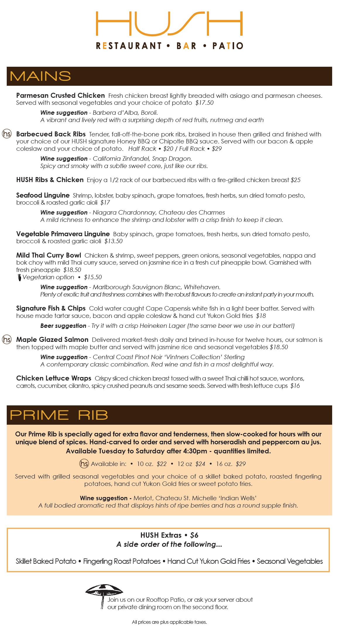 Hush Restaurant menu