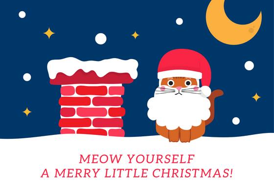 Meow Yourself Merry Christmas Kartu Natal Ucapan Natal Kartu
