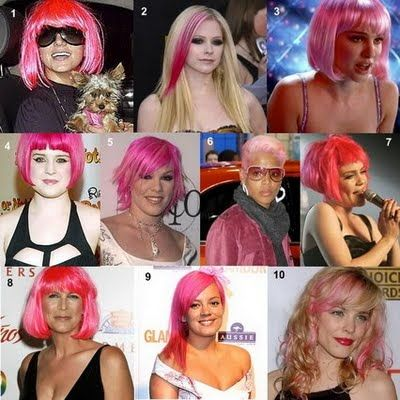 pink wig often signifies a sex alter added leopard print to go along with the sex-kitten pink wig), here are a few examples of other MK'd celebs donning the pink hair/wig (the hair alteration symbolizes a change in their identity/personality, pink having obvious sexual connotations hence why it is used in this way)