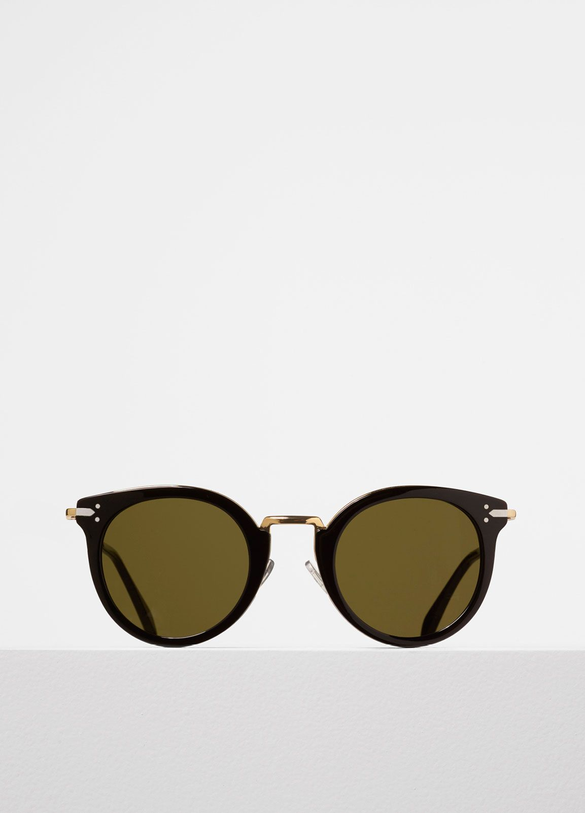 a03b89b359f51 Celine  Lea Sunglasses in Black Acetate and Metal with Green Lenses ...