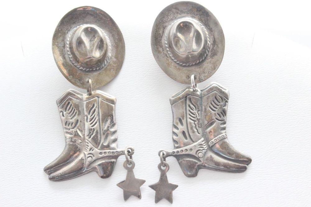Sterling Silver Cowboy Hat Charm Post Dangle Earrings