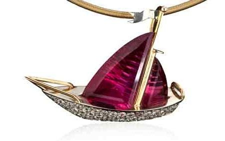 """e91de80a8 """"Red Sails in the Sunset"""" sailboat slide pendant"""" 7.60ct fancy cut pink  tourmaline and 2.10tcw diamonds set in 18K yellow gold. Image courtesy of  Leslie ..."""
