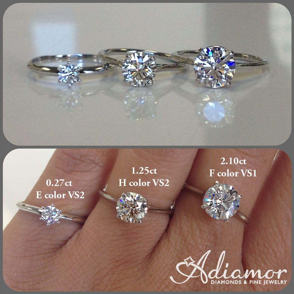 beff734d23d4c Here you can see different sizes and colors in comparison to each other.  #adiamor #roundcut #solitaire #diamond #engagementring