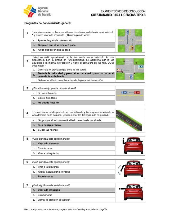 Examen para licencia de conduccion