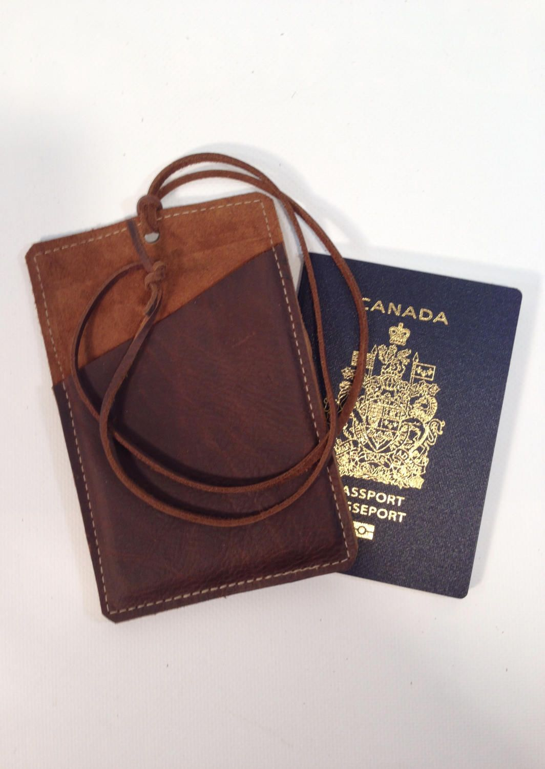16513b30917 Leather passport neck holder