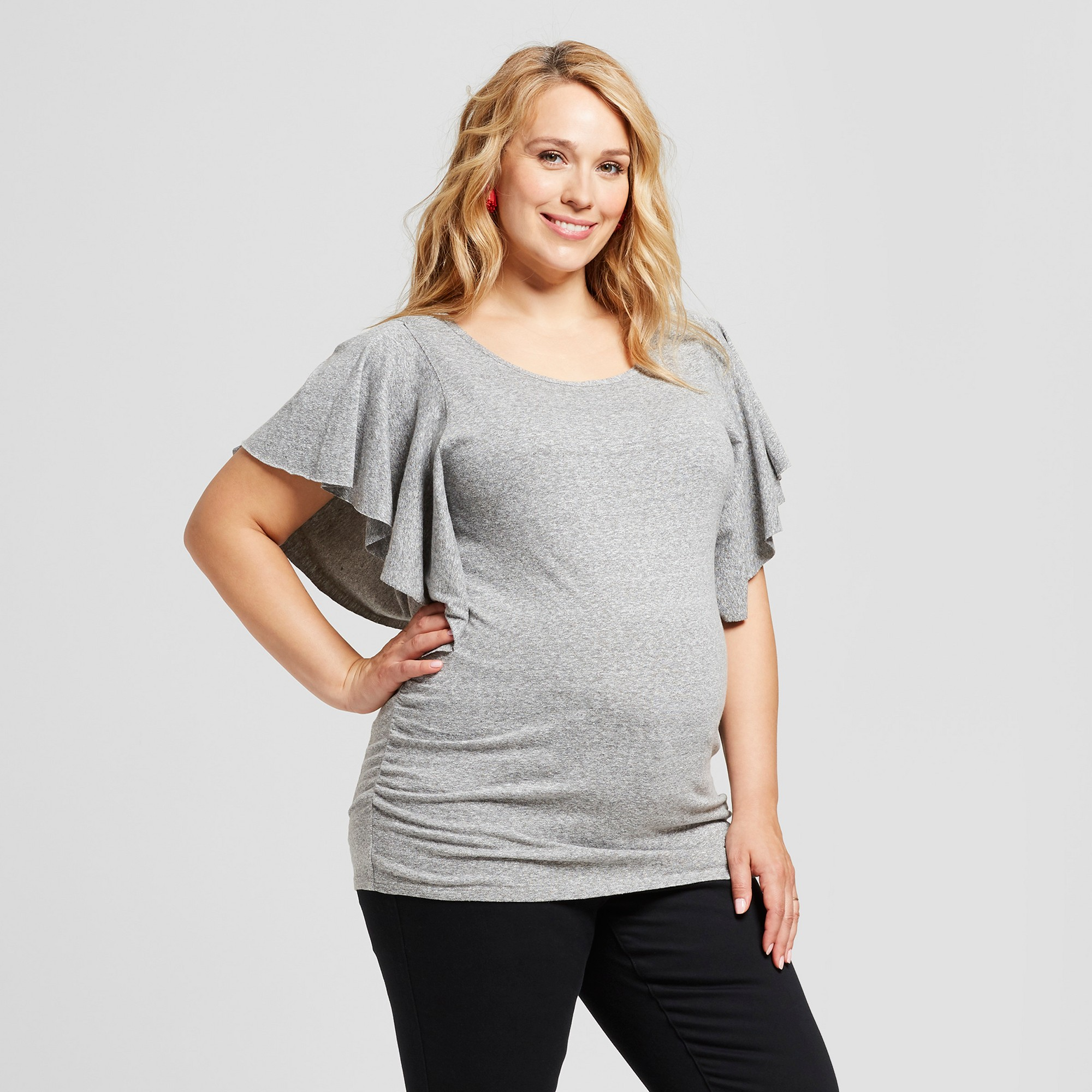 e49a835943955 Maternity Plus Size Flutter Short Sleeve Knit Top - Isabel Maternity by  Ingrid & Isabel Railroad Gray 4X