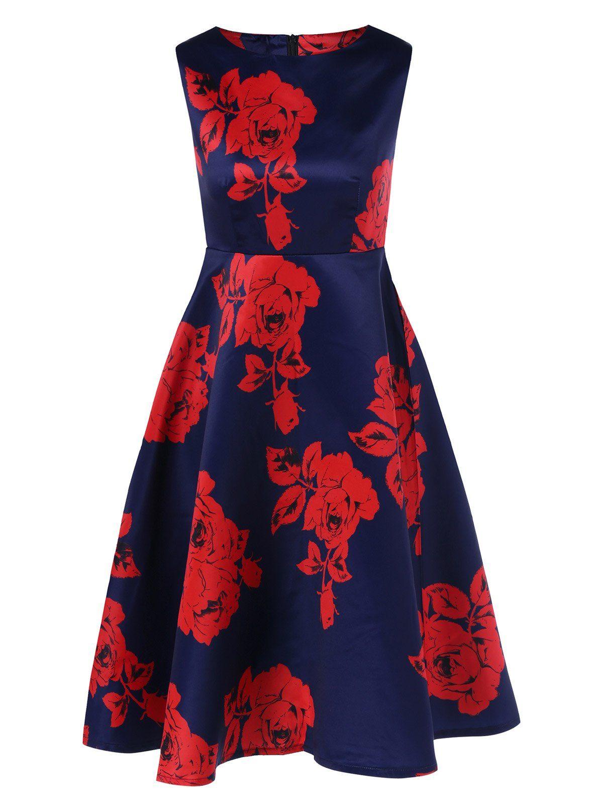 High Waist Floral Flare Dress in Red | Sammydress.com