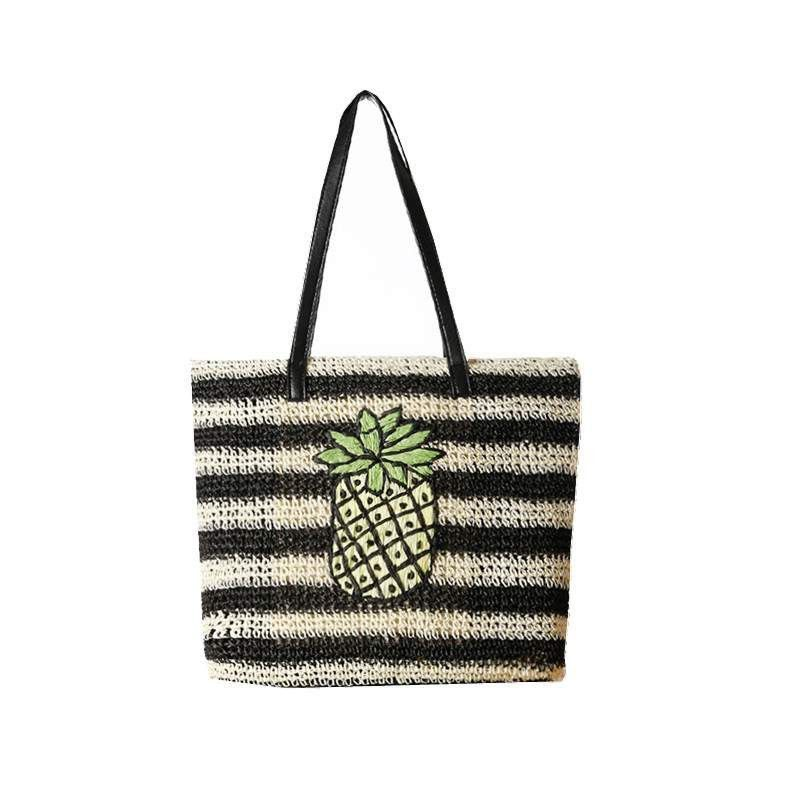 Pineapple straw beach bag