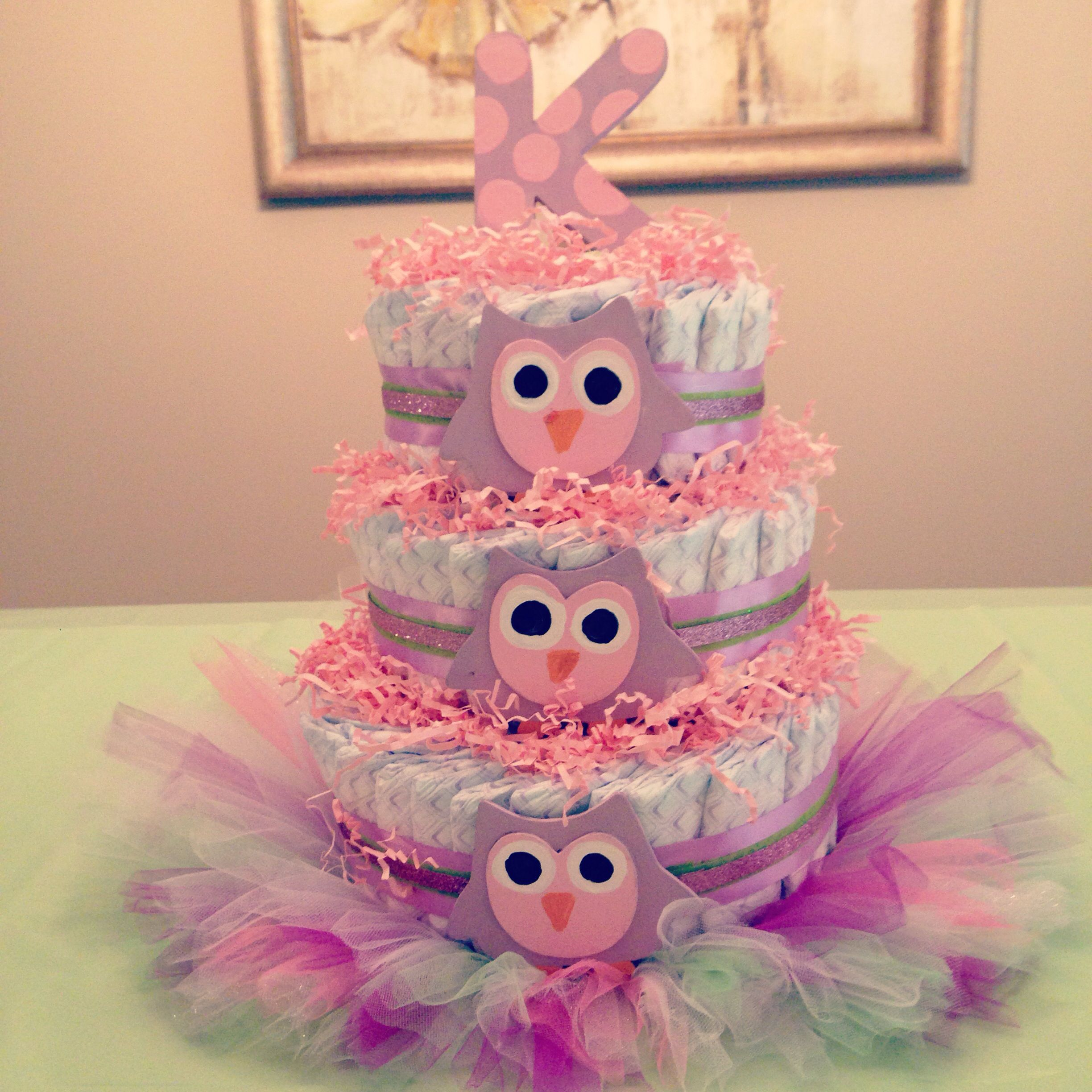 Owl Diaper Cake With Baby First Tutu As The Base With Images