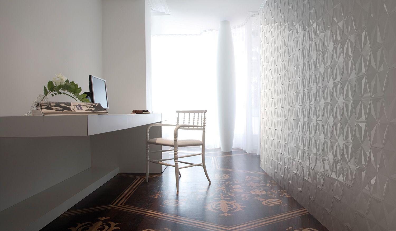 bisazza tile. frozen garden / white frozen crystal | wall
