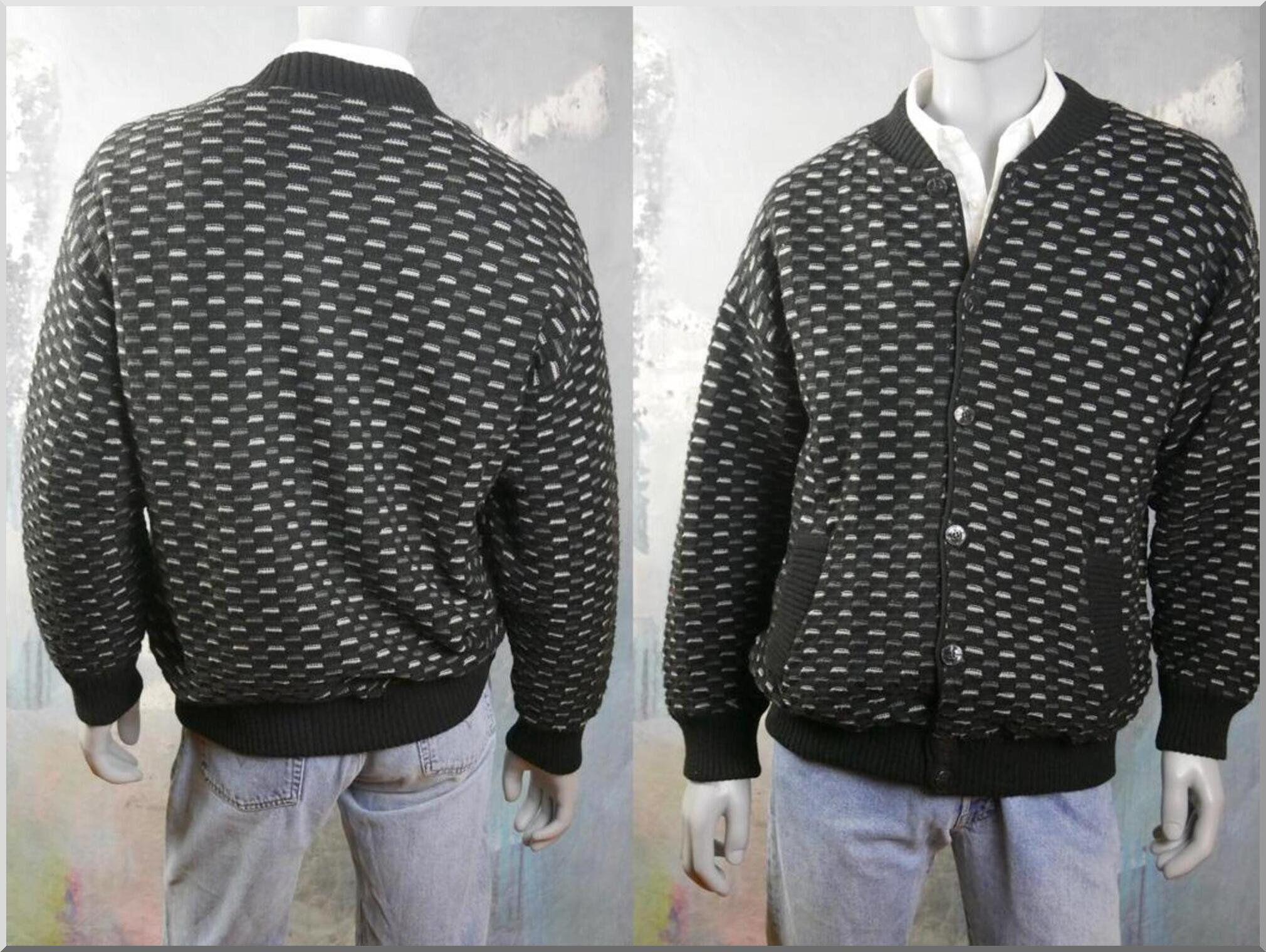 1990s Black & Gray Cardigan-Style Varsity Jacket: Size XXL (46 to 48 US/UK) #varsityjacketoutfit
