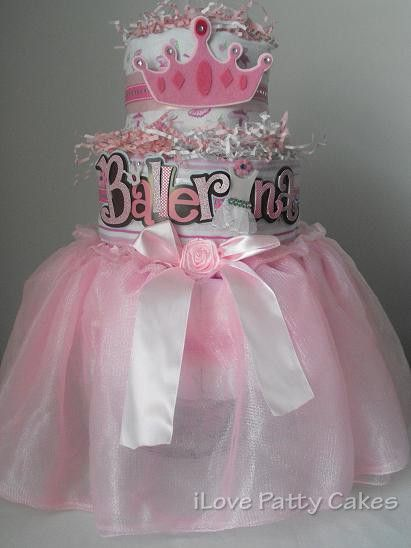 3 Tier Ballerina Diaper Cake Diaper Cake Baby Girl Diaper Cake Baby Cake