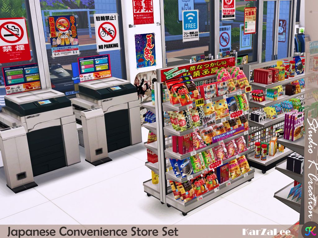 Japanese Convenience Store set Sims 4 studio, The sims 4