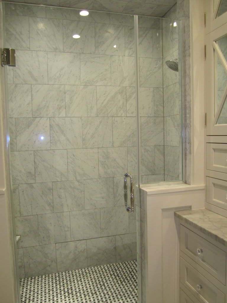 Shower Fixtures Towel Bars Restoration Hardware Asbury Floor And Shower Walls 12x12 Hon Patterned Bathroom Tiles Bathroom Vanity Remodel Bathrooms Remodel