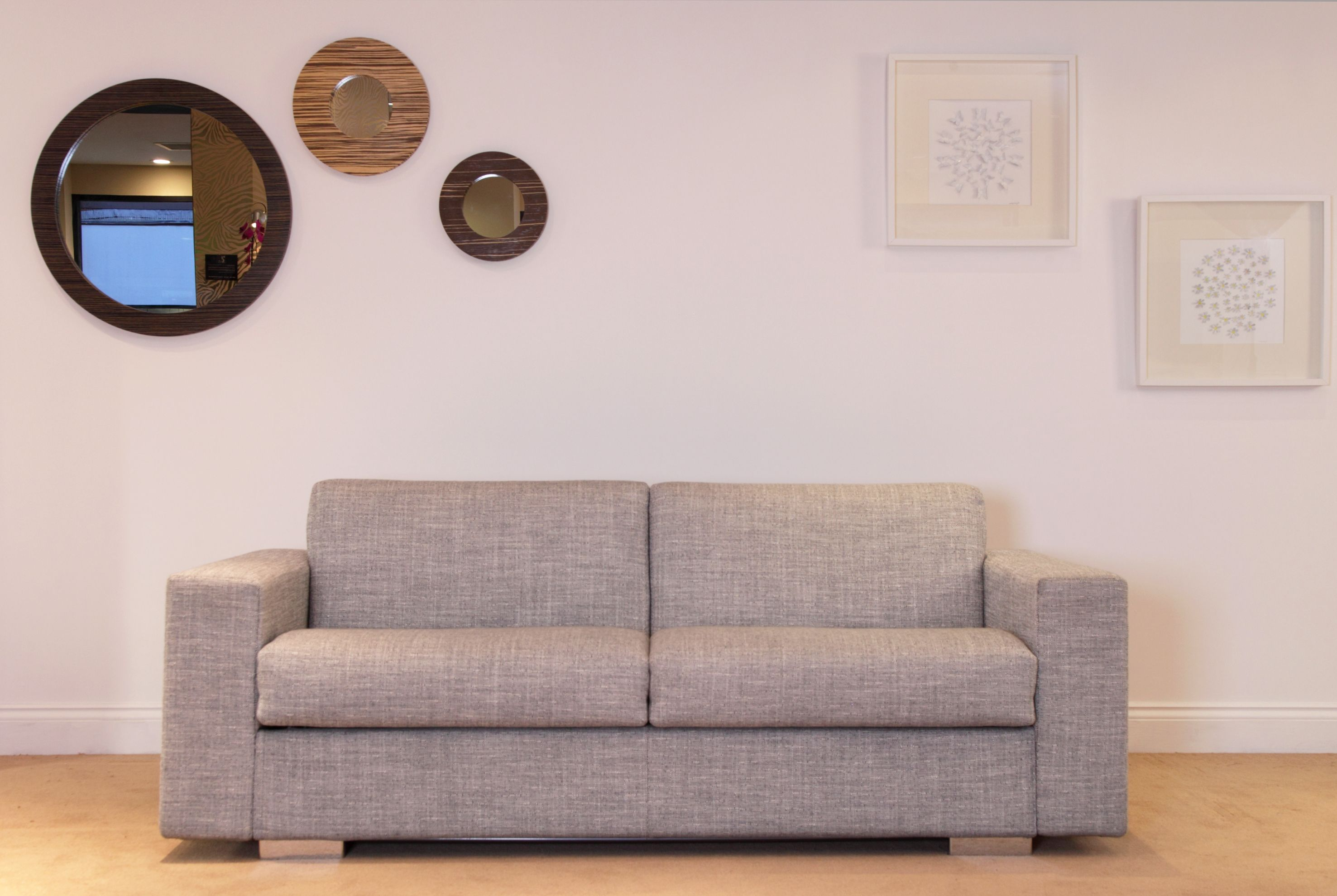 204 cm wide x 100 cm deep x 81 cm high sofa. Firm foam
