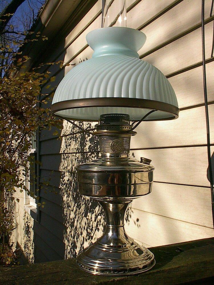 c.1930 NICKEL PLATED ALADDIN MODEL 12 ANTIQUE OIL LAMP