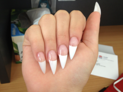Pin By Amari Henderson On Nails French Stiletto Nails French Tip Nails French Nails