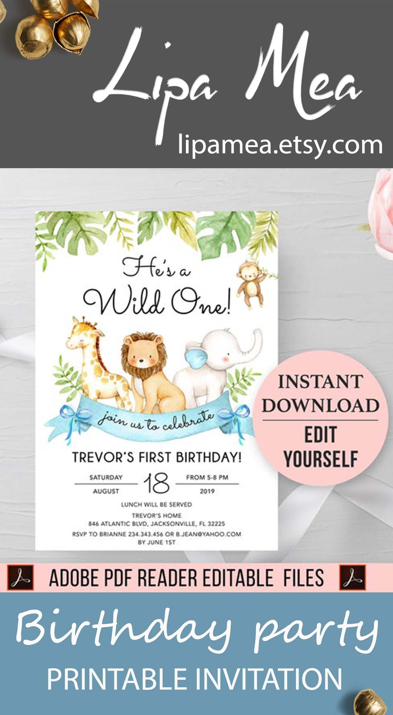 wild one birthday invitation boy jungle