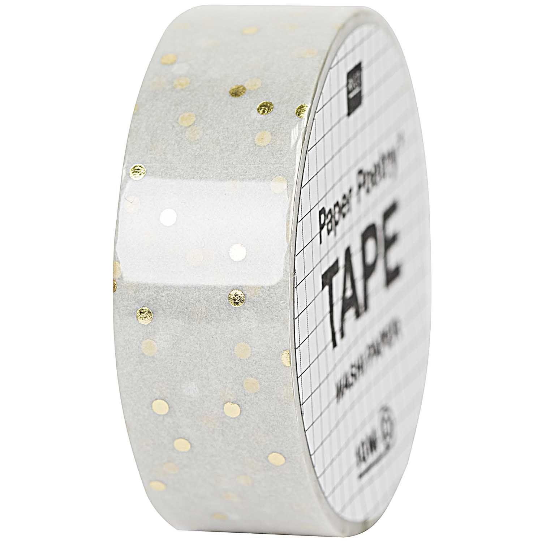Paper Poetry Tape Punkte graugold 1,5cm 10m Rico design