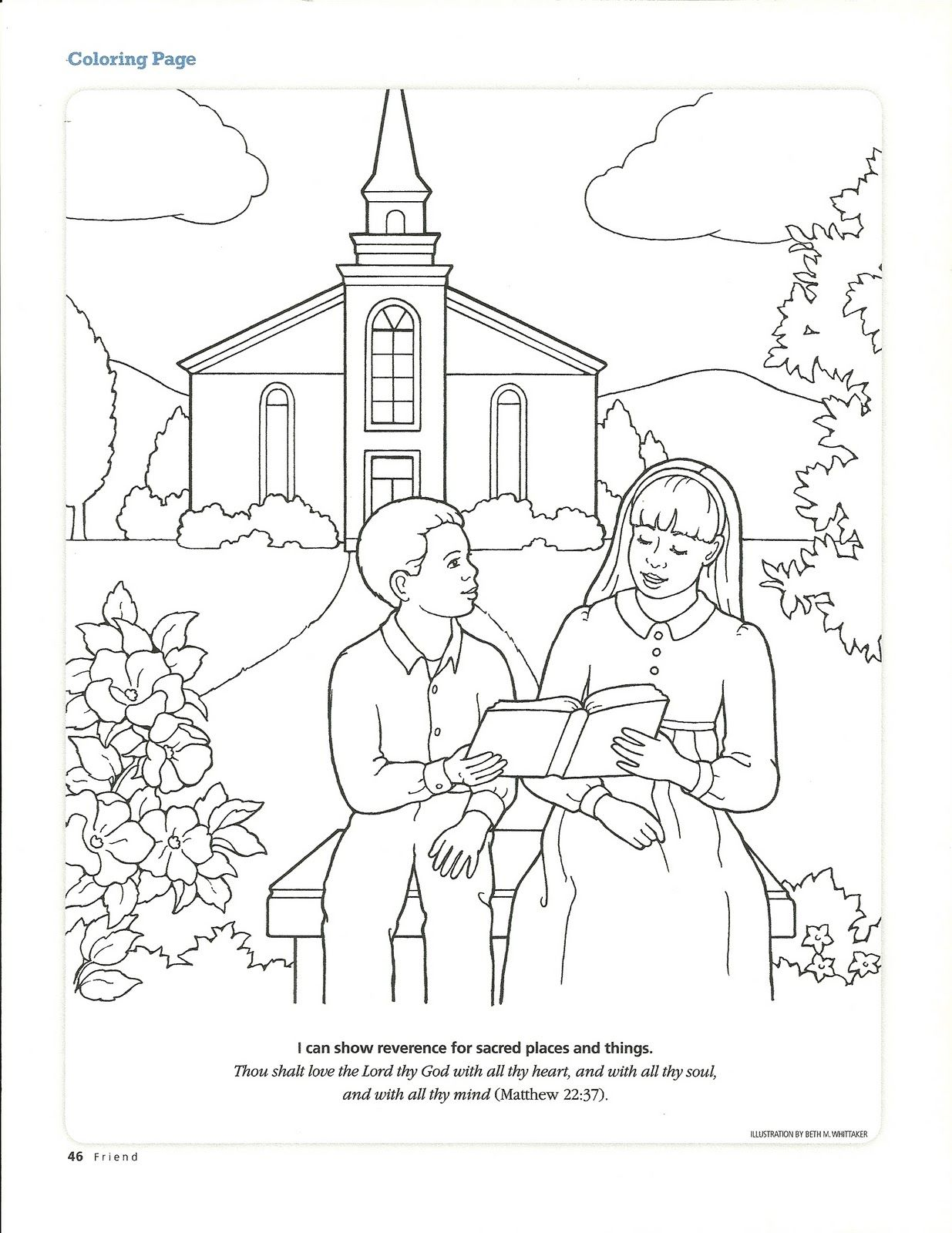 Primary 3 Manual Lesson 40 Worshiping At Church Journal Page Coloring Page From The Behold Your