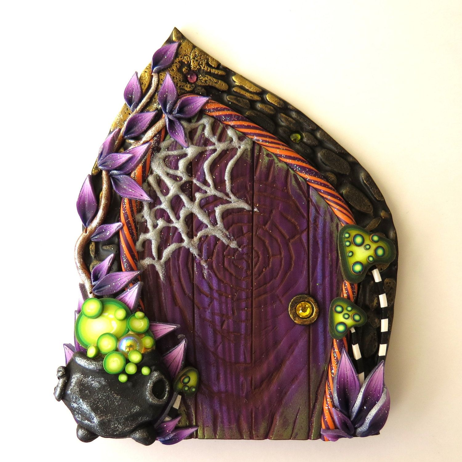 Spider Web and Toadstools Halloween Door, Polymer Clay Pixie Portal, Halloween…