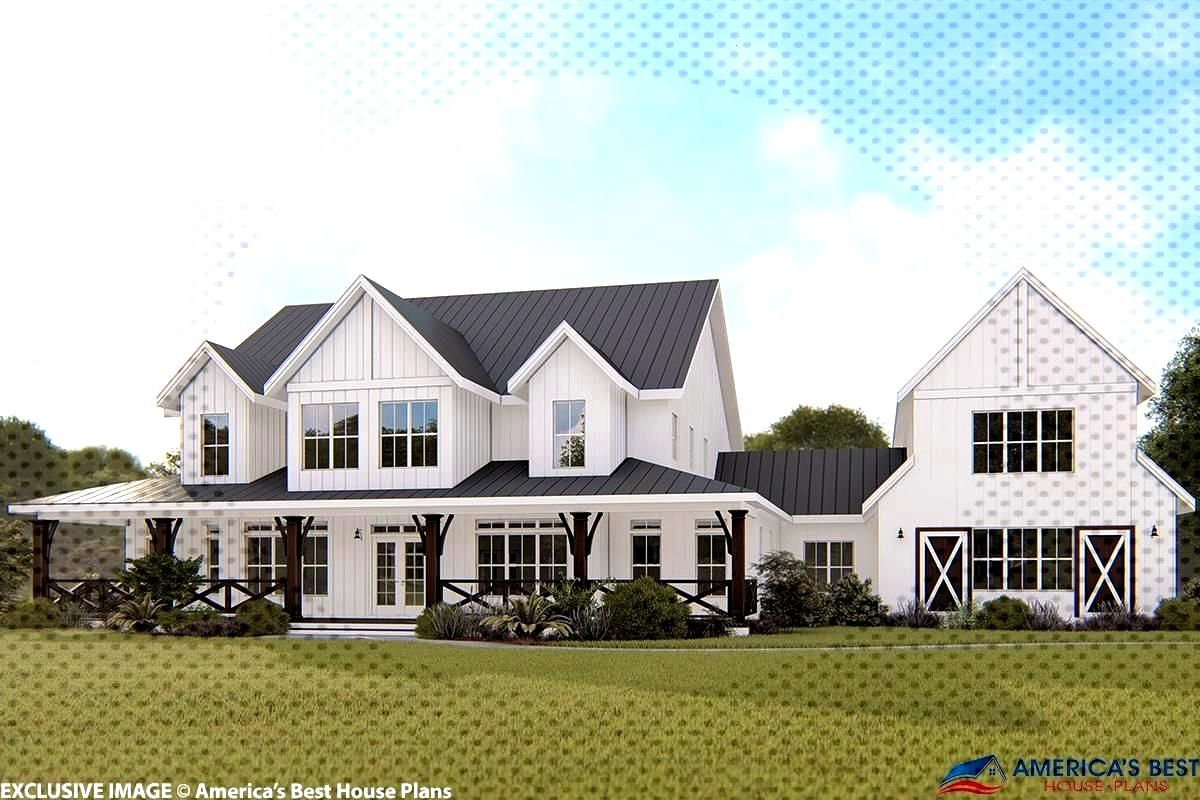 House Plan 6849-00064 - Modern Farmhouse Plan: 4,357 Square Feet, 5 Bedrooms, 5 Bathrooms