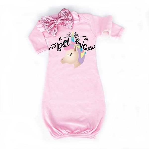 Unicorn Baby Gown | Pink - Cassidy\'s Closet | Baby Shower Gifts ...
