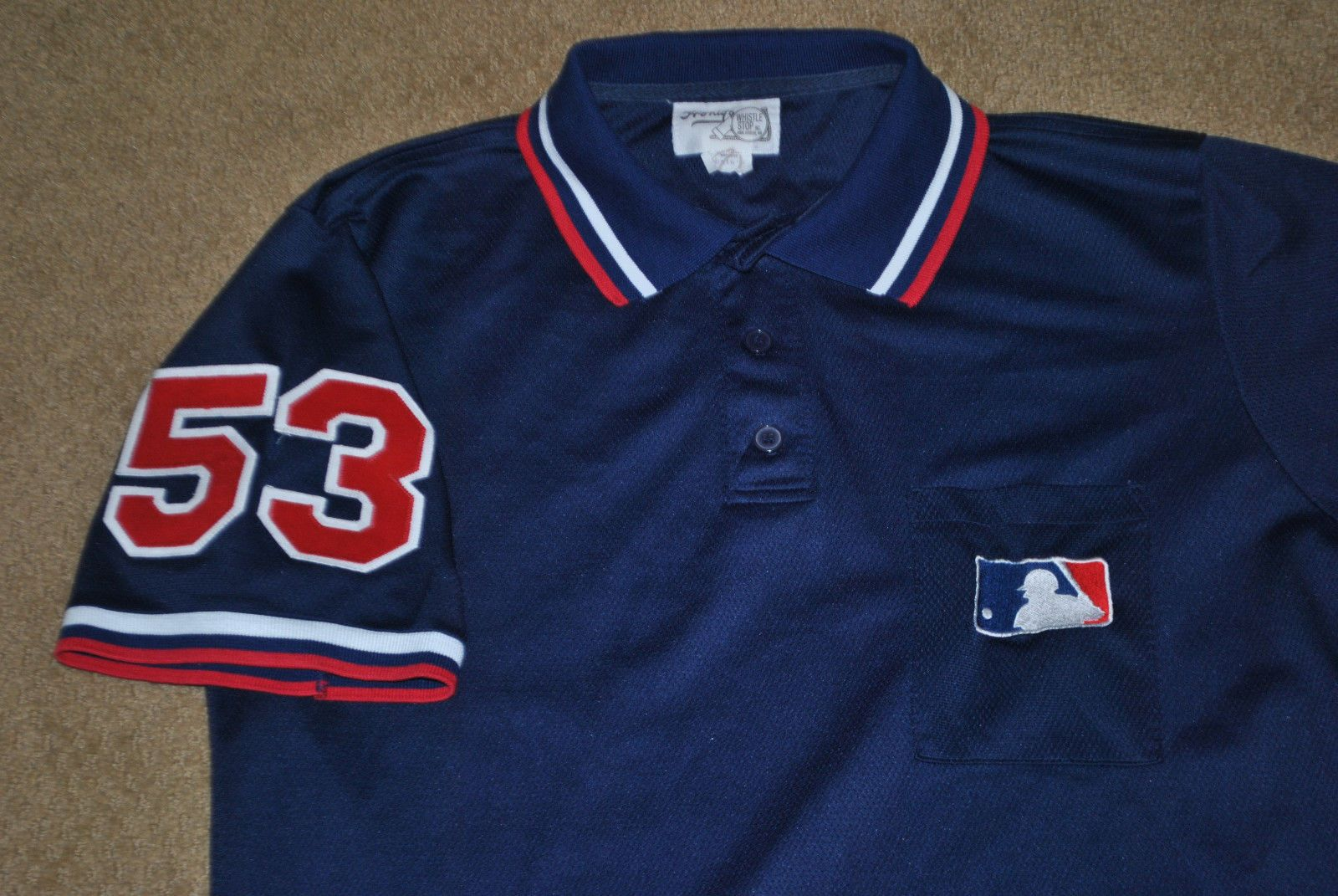 53 Greg Gibson Mlb Umpire Game Worn Navy Jersey Honig S Mlb Mens Tops Game Wear Mens Polo Shirts
