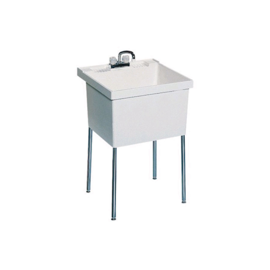 Shop Swanstone White Composite Freestanding Laundry Sink At Lowes